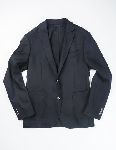 BROOKLYN TAILORS - BKT35 Unstructured Jacket in Black Hopsack