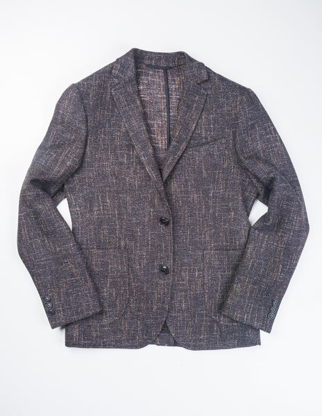 BROOKLYN TAILORS - BKT35 Jacket in Navy and Brown Summer Tweed
