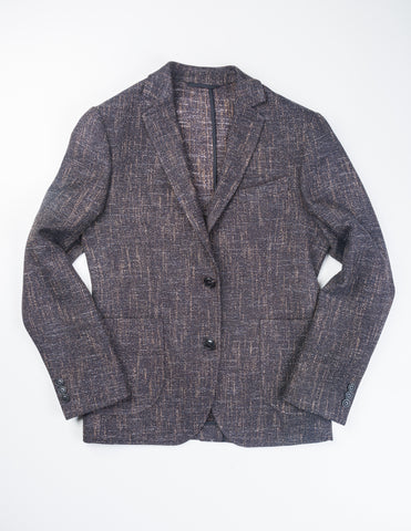 BROOKLYN TAILORS - BKT35 Jacket in Navy and Brown Lightweight Tweed