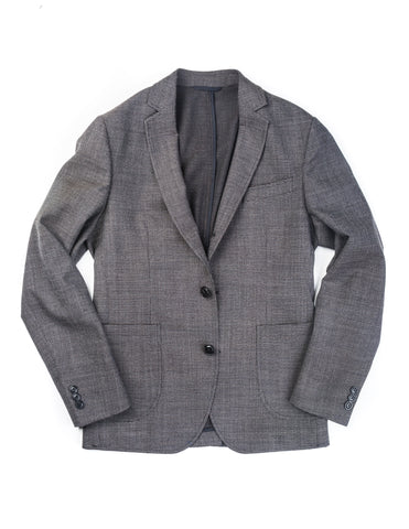 BROOKLYN TAILORS - BKT35 Unstructured Jacket in Black and Ivory Textured Micro Grid