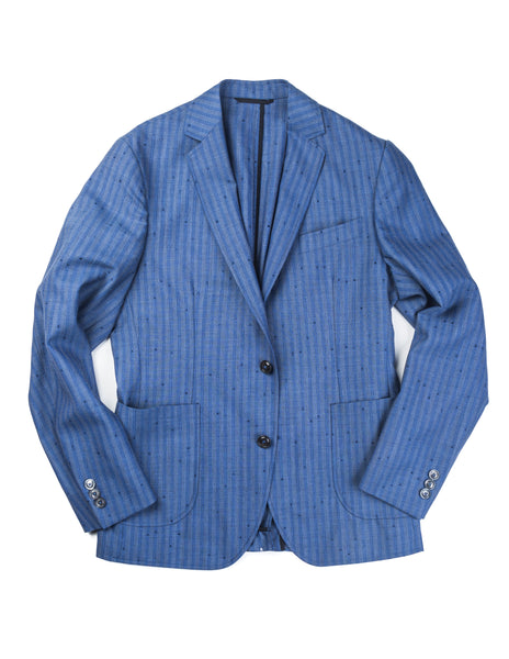 BROOKLYN TAILORS - BKT35 Unstructured Jacket in Airforce Blue with Flecked Stripes