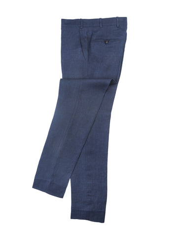 FINAL SALE: BROOKLYN TAILORS - BKT50 Tailored Trousers in Navy Linen Twill