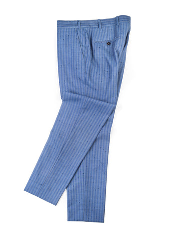 FINAL SALE: BROOKLYN TAILORS - BKT50 Tailored Trousers in Airforce Blue with Flecked Stripes