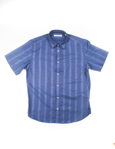 FINAL SALE - BROOKLYN TAILORS - BKT14 Short Sleeve Shirt in Navy with Stripes