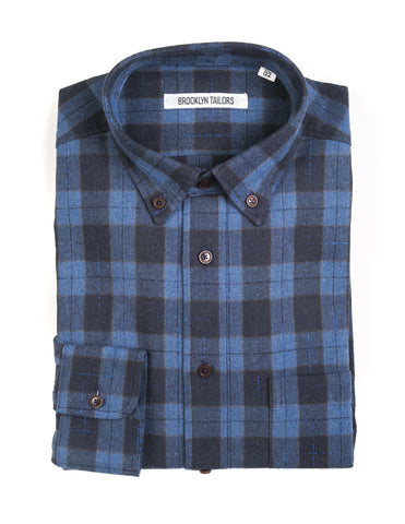 FINAL SALE: BROOKLYN TAILORS - BKT10 Casual Shirt in Blue Plaid