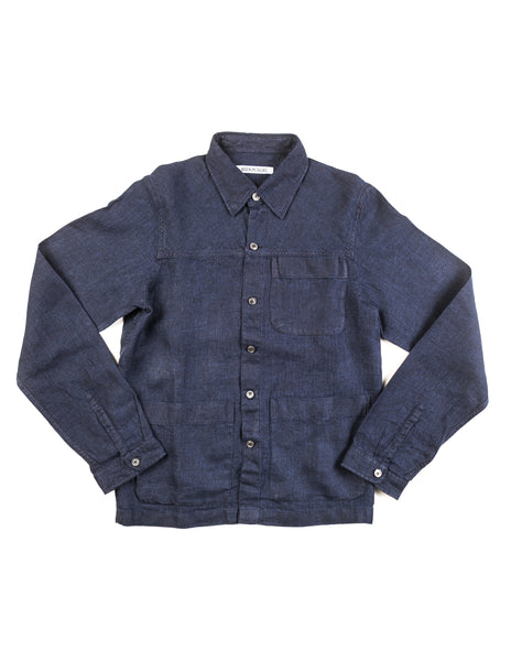 FINAL SALE - BROOKLYN TAILORS - BKT15 Shirt Jacket in Navy Linen