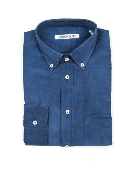 FINAL SALE - BROOKLYN TAILORS - BKT10 Casual Shirt in Blue Baby Corduroy