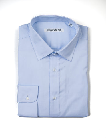 BROOKLYN TAILORS - BKT20 Dress Shirt in Light Blue Pinpoint