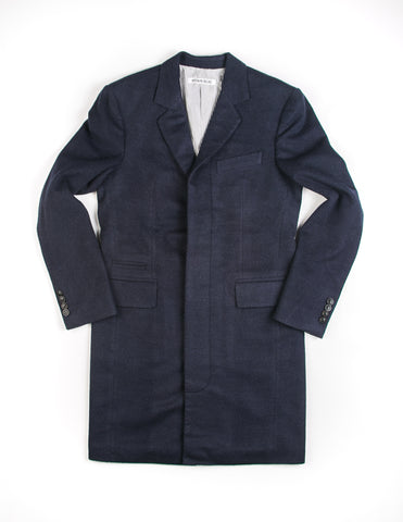 FINAL SALE: BROOKLYN TAILORS - BKT75 Topcoat in Navy Brushed Wool
