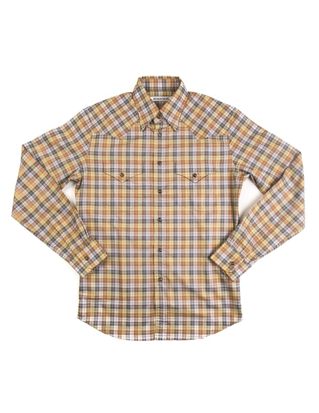 BROOKLYN TAILORS - BKT13 Cowboy Shirt in Pale Green Plaid