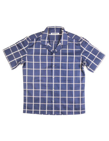 BROOKLYN TAILORS - BKT18 Camp Shirt in Blue Windowpane
