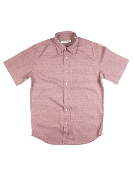 BROOKLYN TAILORS - BKT14 Short Sleeve Shirt in Lavender Japanese Print