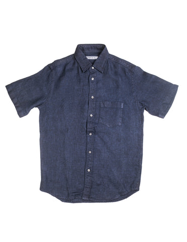 BROOKLYN TAILORS - BKT14 Short Sleeve Shirt in Navy Linen