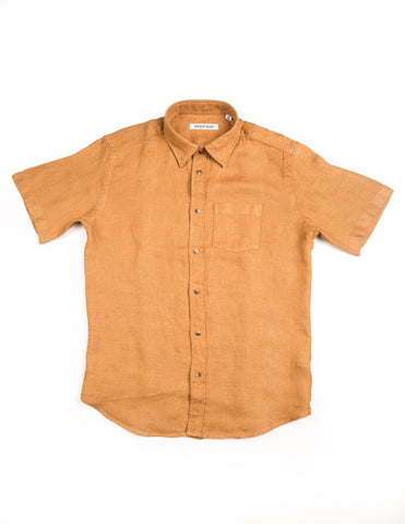 BROOKLYN TAILORS - BKT14 Short Sleeve Shirt in Marigold Yellow Linen Oxford