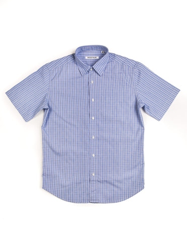 BROOKLYN TAILORS - BKT14 Short Sleeve Shirt in Light Blue Plaid