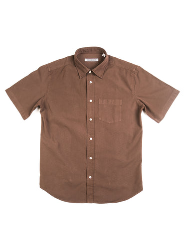 BROOKLYN TAILORS - BKT14 Short Sleeve Shirt in Chocolate Crisp Poplin