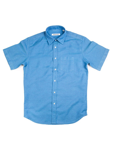 BROOKLYN TAILORS - BKT14 Short Sleeve Shirt in Bright Blue Eyelet