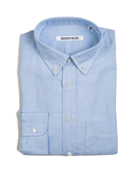 BROOKLYN TAILORS - BKT10 Sport Shirt in Sky Blue Eyelet Oxford