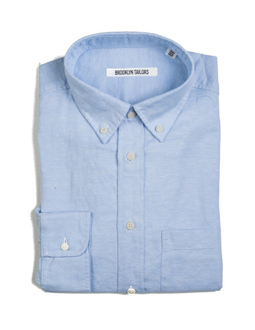 BROOKLYN TAILORS - BKT10 Sport Shirt in Sky Blue Cotton / Linen Oxford