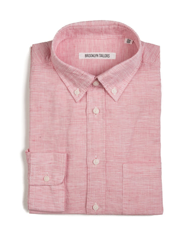 BROOKLYN TAILORS - BKT10 Casual Shirt in Cabana Red End-on-End