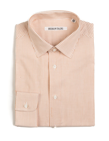 BROOKLYN TAILORS - BKT20 Dress Shirt in Ochre and White Thin Stripe