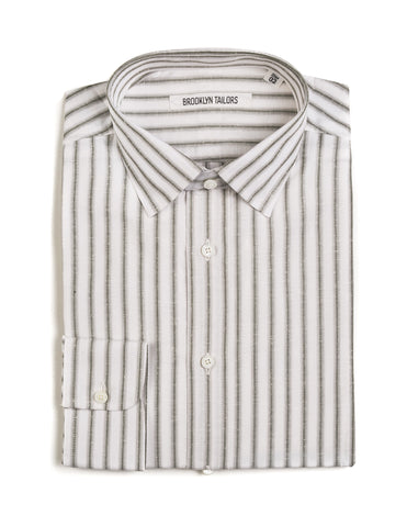 BROOKLYN TAILORS - BKT20 Dress Shirt in Cactus Green and White Cotton Slub