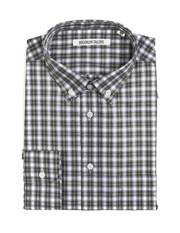 BROOKLYN TAILORS - BKT10 Casual Shirt in Green and White Plaid