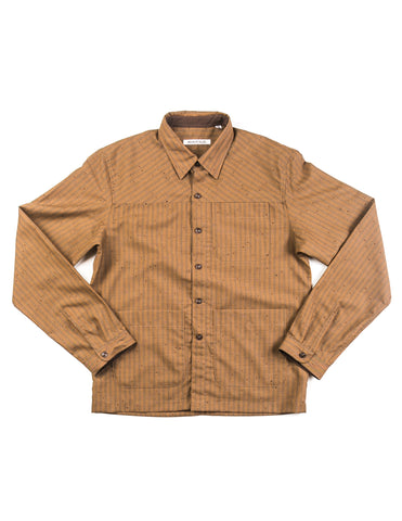 BROOKLYN TAILORS - BKT15 Shirt Jacket in Copper with Faded Stripes