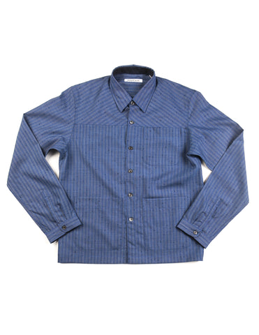 BROOKLYN TAILORS - BKT15 Shirt Jacket in Blue with Faded Stripes
