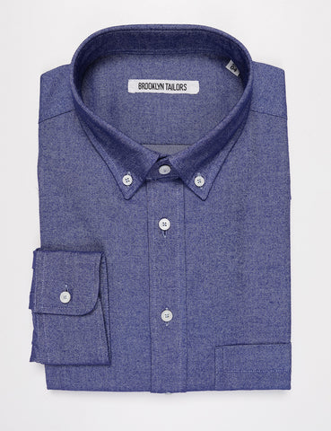 BROOKLYN TAILORS - BKT10 Slim Casual Shirt in Brushed Oxford - Blue