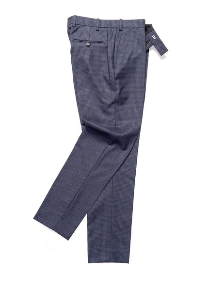 BROOKLYN TAILORS - BKT50 Tailored Trousers in Refined Check - Slate Blue