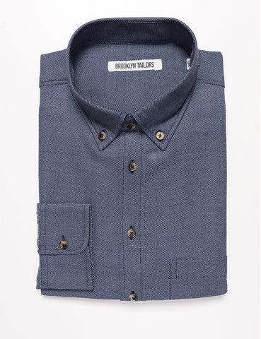 BROOKLYN TAILORS - BKT10 Slim Casual Shirt in Soft Basketweave - Dusk