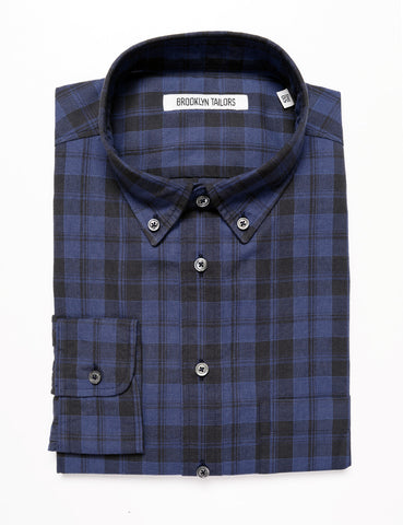 BROOKLYN TAILORS - BKT10 Slim Casual Shirt - Late Night Blue Plaid