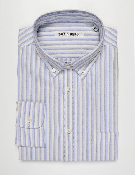BROOKLYN TAILORS - BKT10 Slim Casual Shirt in Double Striped Oxford - Pale Blue