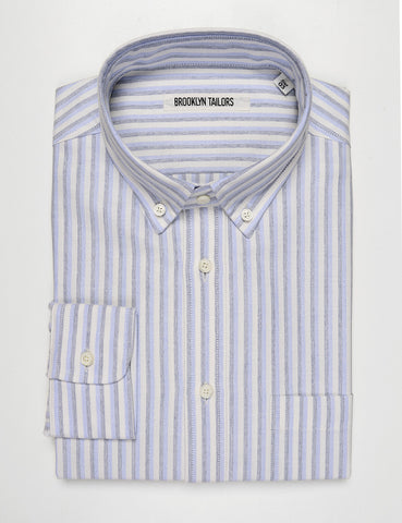 FINAL SALE: BROOKLYN TAILORS - BKT10 Slim Casual Shirt in Double Striped Oxford - Pale Blue