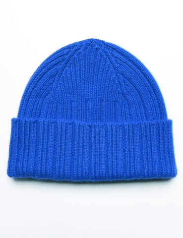 DRAKE'S - Ribbed Watch Cap in Geelong-Angora - Royal Blue