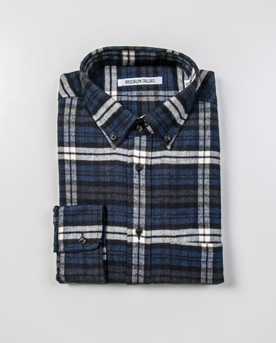 BROOKLYN TAILORS - BKT10 Slim Casual Shirt in Plaid Brushed Flannel - Navy and Black