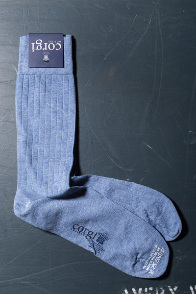 CORGI - Ribbed Cotton Dress Socks in Denim