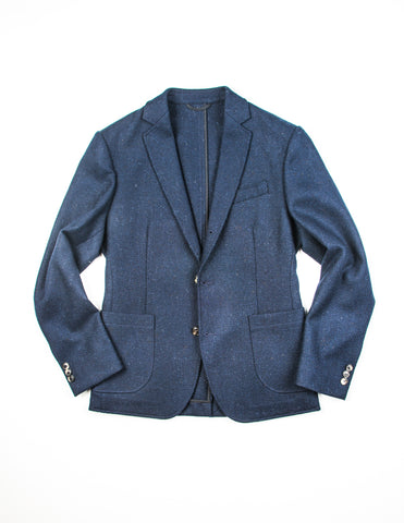 BROOKLYN TAILORS - BKT35 Unstructured Jacket in Herringbone Tweed - Navy