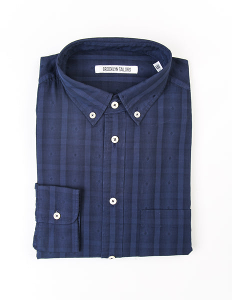 FINAL SALE - BROOKLYN TAILORS - BKT10 Casual Shirt in Blue Plaid with Eyelet