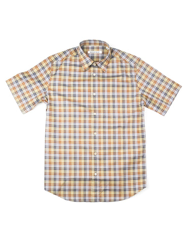 BROOKLYN TAILORS - BKT14 Short Sleeve Shirt in Green Plaid
