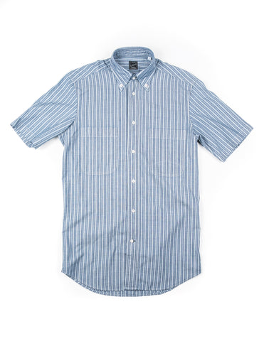 GLENN'S DENIM- GD312 Short-Sleeve Utility Shirt in Pale Blue with White Stripe