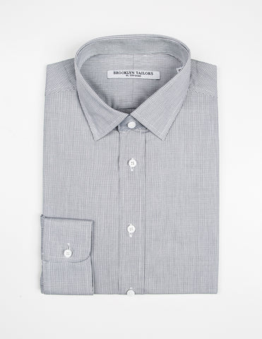 BROOKLYN TAILORS - Micro Grid Dress Shirt in White and Black
