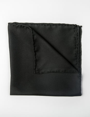 FAIRFAX - Solid Silk Pocket Square in Black