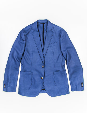 FINAL SALE - BROOKLYN TAILORS - BKT35 Unstructured Jacket in Bright Blue Hopsack