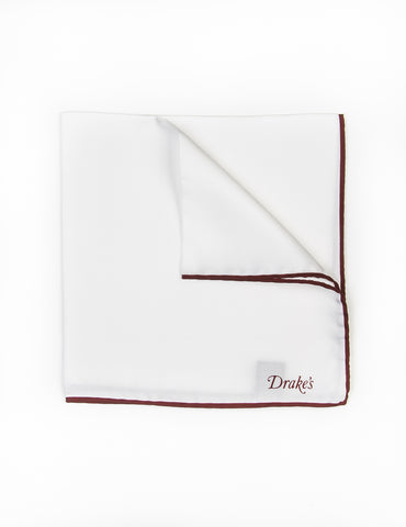 DRAKE'S - White with Wine Classic Silk Shoe String Pocket Square