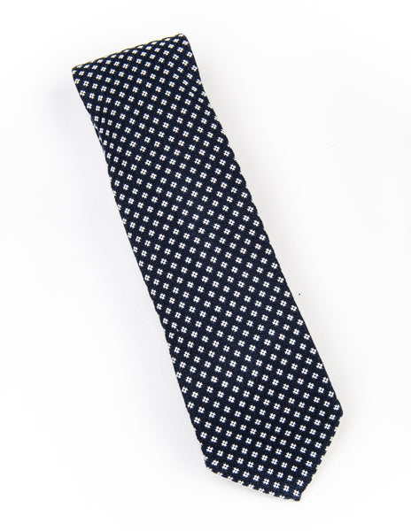 FINAL SALE - BROOKLYN TAILORS - Cotton Micro Grid Necktie - Navy / White