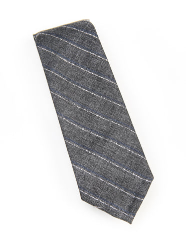 BROOKLYN TAILORS - Untipped Midgrey with Blue and White Chalkstripe Tie