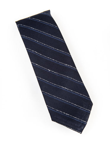 FINAL SALE - BROOKLYN TAILORS - Untipped Navy with Blue and Grey Chalkstripe Tie
