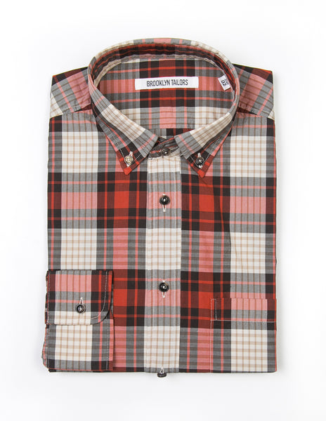 BROOKLYN TAILORS - BKT10 Casual Shirt in Large Red Plaid